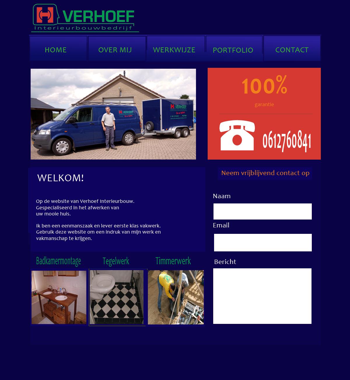 Website van Verhoef Interieurbouw