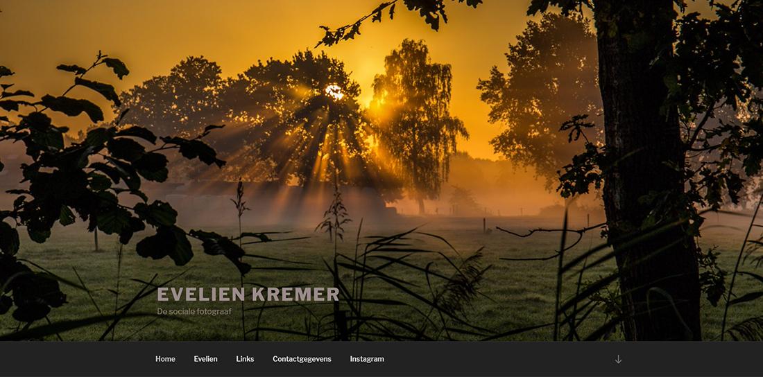 Screenshot van website van Evelien Kremer
